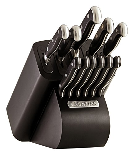 Sabatier Self-Sharpening Edgekeeper Pro 12-Piece Forged Triple Rivet Knife Block Set, Black -