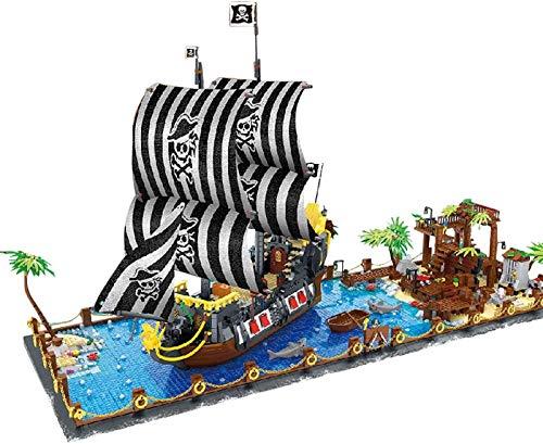 Egrus 5937 Piezas Prey Bay Building Blocks Kit con Barco Pirata y Placa de construcción, Compatible con los Bloques de construcción de Lego - Modelo de Buque de Piratas de Bricolaje para Adultos niño