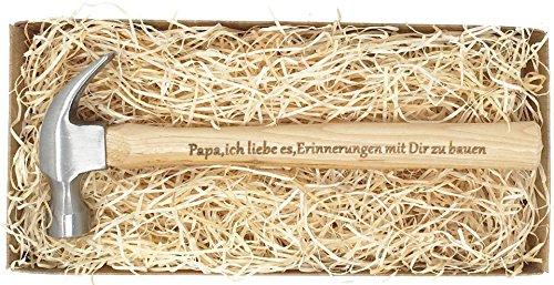 """Geschenk für Papa : Gravierter Holzhammer :\"""" Papa, ich liebe es, Erinnerungen mit Dir zu bauen\"""" -\"""" Du bist der Hammer\"""" - Besonderes Geburtstagsgeschenk für Papa"""