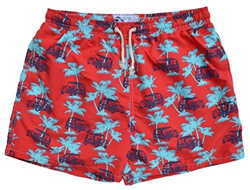 Havacoa Badeshort Swim Short Men Boxer Rot Palmen Autos Größe M