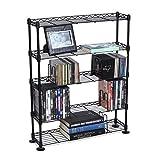 Atlantic Maxsteel 5 Tier Shelving - Heavy Gauge Steel Wire Media Shelving for 275 CDs,152 DVDs, Blu-ray or Games PN3010 in Black