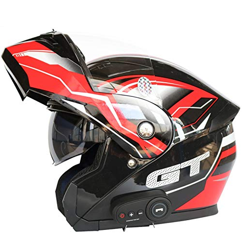 ZLYJ Bluetooth Casco Integrado Modular Motocicleta,Doble Visera Antiniebla Mofa Crash Moped Scooter Bobber Chopper Cruiser Pilot Racing Cap,ECE Homologado D,XL(61-62cm)