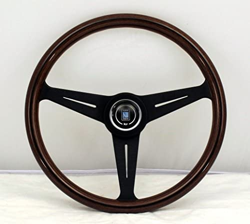 Nardi Steering Wheel Classic 390mm 15 35 inches Mahogany Wood with Black Anodized Spokes Black product image
