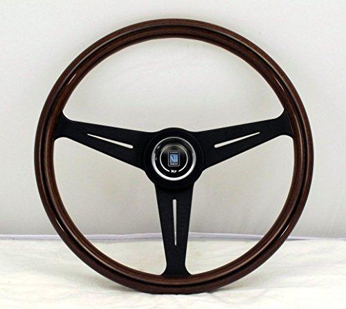 Nardi volante–Classic–390mm (15.35pulgadas)–madera de caoba con radios–Centro de aluminio negro anodizado negro anillo–KBA/Abe 70065–Parte # 5051.39.2300
