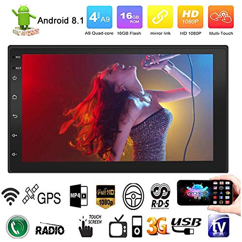 Android 7.1 WIFI Reproductor de MP3 MP5 con radio 2DIN doble, GPS Bluetooth, dispositivo de navegador para camión de 7 pulgadas, 16 GB y1 GB, pantalla táctil capacitiva, cámara de visión trasera Radio