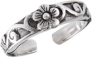 Wave Simulated Abalone Ocean .925 Sterling Silver Swirl Wire Abstract Wrap Midi Toe Ring Band