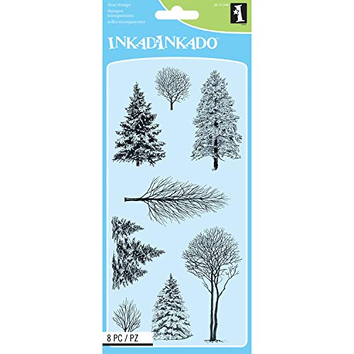Inkadinkado Trees Unmounted Clear Rubber Stamp Set for Cards and Scrapbooking, 4'' L x 8'' H, 8 pc.