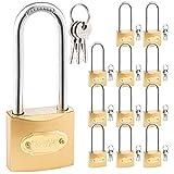 Brass Padlock, 1-1/2-inch Wide, Long Shackle, Includes 3 Keys, for...