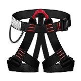 UBaymax Arnés de Escalada Alpinismo,Cuerda Equipo Escalada Ajustable,Cinturón de Seguridad para Mujer y Hombre, Cinturón de Arnés para Escalada de Roca,Equipo de rapel Protección para Rescate (Negro)