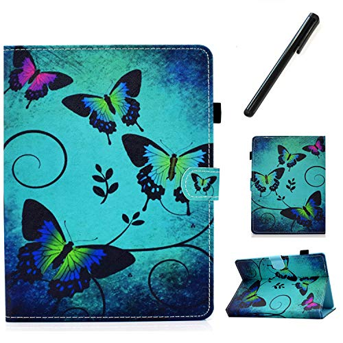 HereMore Universal Case for 8 Inch Tablet with Pen, Leather Stand Cover Protective Shell for Fire HD 8,Huawei MediaPad T3 8,Samsung Galaxy Tab A8, Acer Iconia One 8 B1-870,Lenovo Tab E8, Butterfly