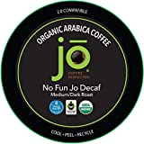 NO FUN JO DECAF: 24 Cup Fresh Seal Organic Coffee Pods, Single Serve Capsule for use in Keurig K-Cup Compatible Brewers, Swiss Water Process Decaf Fair Trade Medium/Dark Roast
