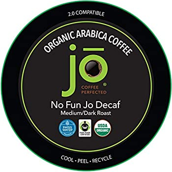 NO FUN JO DECAF  24 Cup Fresh Seal Organic Coffee Pods Single Serve Capsule for use in Keurig K-Cup Compatible Brewers Swiss Water Process Decaf Fair Trade Medium/Dark Roast
