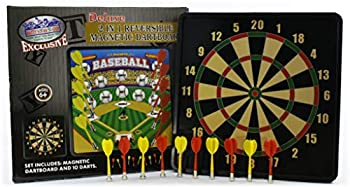 Matty s Toy Stop Deluxe 2-in-1 Reversible Magnetic Dartboard  Dart Board  with 10 Darts Featuring Standard Darts & Baseball Games Exclusive