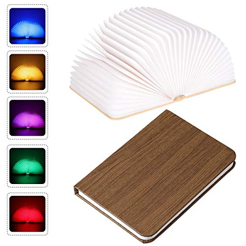 Bedside Novelty Folding Book Lamp,PU Leather Book Light, USB Rechargable Book Shaped Light, 5 Colors Led Table Lamp for Decor, Magnetic Design- Creative Gift(Spades)