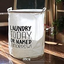 DSHUJC Laundry Basket Cotton Linen Dirty Clothes Basket Toys Debris Snack Storage Basket, H 40 * 50Cm