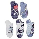 Disney Women's Princess 5 Pack No Show Socks (Blue)