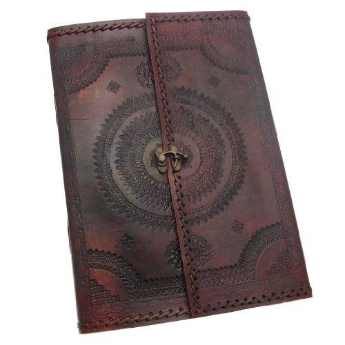 Paper High Indra Tagebuch aus Leder mit Verschluss, genäht und geprägt, 205x300 mm