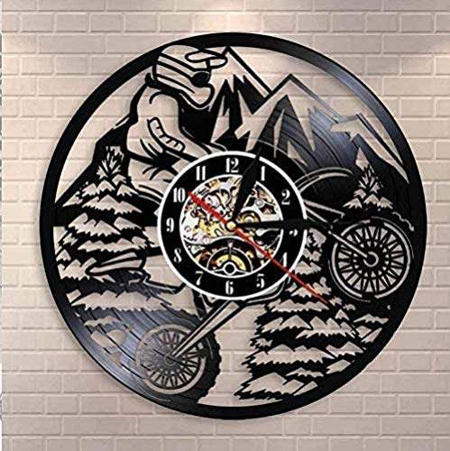XYLLYT Motorcycle Vinyl Wall Clock Mountain Rider Extreme Rider Racing BMX Cross Country Motorcycle Wall Clock Motorcycle Bike Vinyl Record