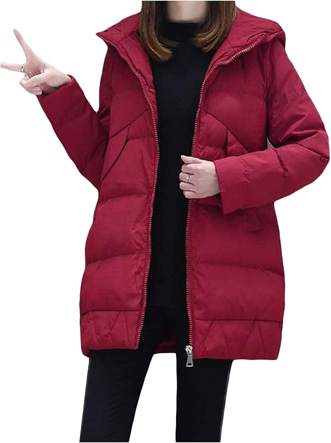 Cobama Women's MidLong Autumn Winter Quilted FullZip Hooded Thick Coa Outweart