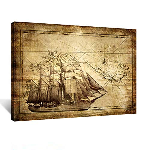 Kreative Arts 7314 Vintage Adventure Ocean Sailing Map Poster Art Print Canvas Framed for Living Decor Kids Study Room Ready to Hang, 24 x 32 (60x80cm)