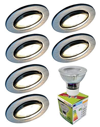 Trango 6 stuks LED inbouwspot, inbouwlamp, plafondlamp TG6729-069GU6KSD van aluminium rond incl. 6x 3 traps dimbare GU10 LED lamp 6000K daglicht wit plafondlamp, spots