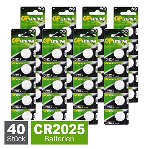 GP Lithium Knopfzellen CR2025 3V, Knopfbatterien CR 2025 Spannung 3 Volt für verschiedenste Geräte- und Verbraucheranwendungen, (40 Stück Batterien CR2025, einzeln entnehmbar)