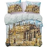 UNOSEKS LANZON - Juego de colcha para cama de estilo gótico, diseño de la catedral de Palma de Mallorca con vistas desde Road Art ultra suave y duradero, color crema azul y blanco, tamaño Queen