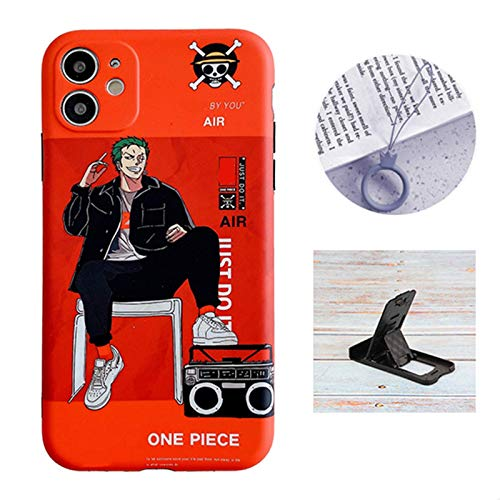 Cool iPhone 11 case Anime Comic for Boys,One Piece Roronoa Zoro Sanji Cute Cartoon Glossy Cover Graphics Design with Cell Phone Stand and Charm Strap Ring