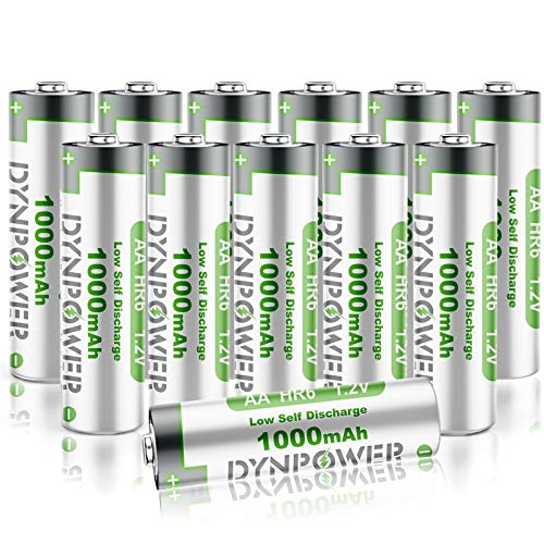 12PCS NiMH AA 1000mAh Rechargeable Batteries for Solar Garden Lights, Dynpower Pre-Charged Double A High Performance Wide Temperature Range for String Lights, TV Remotes, Wireless Mouses, Flashlight…
