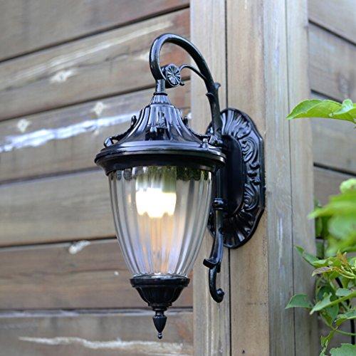 Applique extérieure en aluminium d'ombre de verre, éclairage de couloir de balcon de villa de cour rétro (Color : Black)