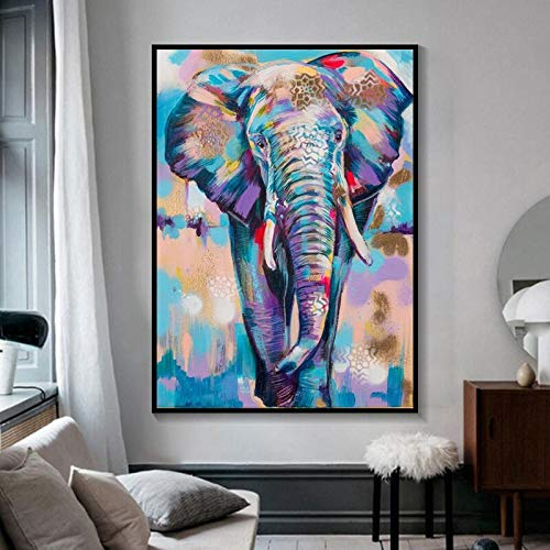 African wild elephant colorful graffiti art posters and prints animal canvas painting children's room decoration wall art painting 50x70cm frameless