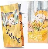 red-U 8er Set Einladungskarten inkl. Umschläge für Kindergeburtstag Pferd | Pferdeeinladung schnell selber gestalten | 8 x Karten und Briefumschläge | Einladung für Geburtstag