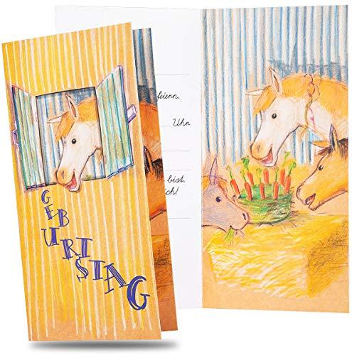 red-U 10er Set Einladungskarten inkl. Umschläge für Kindergeburtstag Pferd | Pferdeeinladung schnell selber gestalten | 10 x Karten und Briefumschläge | Einladung für Geburtstag