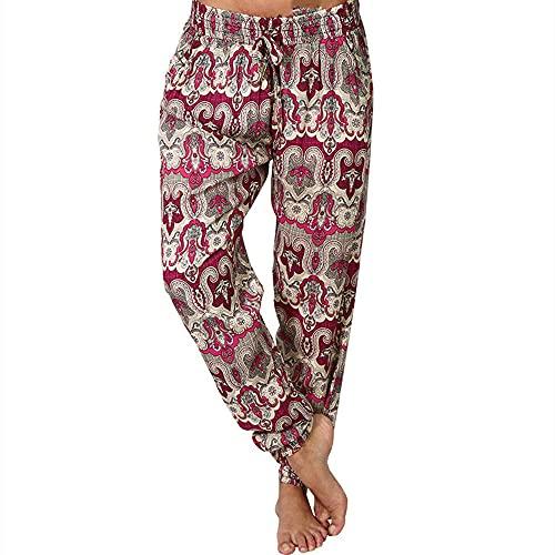 N\P Pantalones de verano de las señoras Casual de gran tamaño impresión digital elástico cintura cordón suelto largo