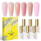 BORN PRETTY Nude Gel Polish Kit, Sheer Milky Pink Jelly Transparent Gel Nail Polish LED Gel Nail Gel Polish Varnish 6Pcs 7ML