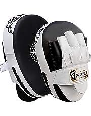 Farabi Sports Curved Focus - Almohadillas de mano para entrenamientos de boxeo (piel de vaca)