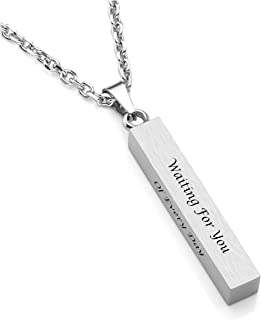 Free Engraving Custom 4 Sided Stainless Steel Necklace Engraved Initial Name Vertical Cuboid Matte Bar Pendant Necklace for Couple Best Friend Birthday Gift