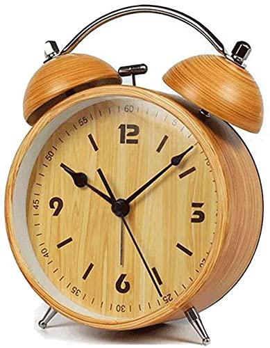 Reloj Despertador Reloj silencioso de cabecera Creativo Reloj de Escritorio con Personalidad Retro Reloj Despertador de Moda para Estudiantes Mini con luz Nocturna Madera de imitación
