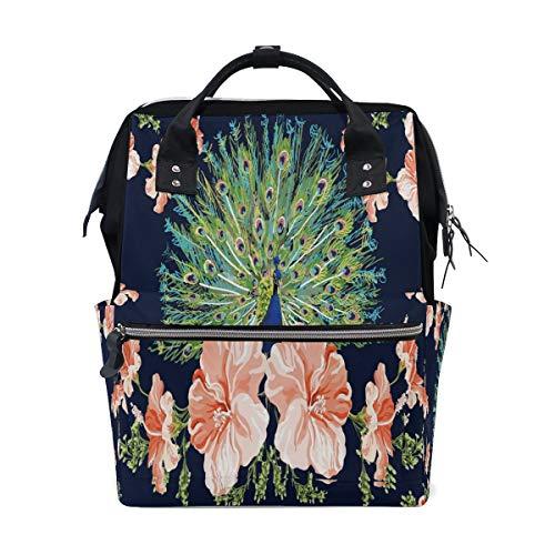 Hermosa pluma de pavo real pájaro floral multifunción bolsas de pañales mochila bolsa de viaje