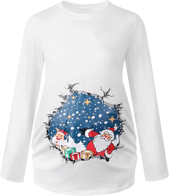 Maternity Clothes Christmas Long Sleeve Maternity Top T-Shirt Pregnant Women Christmas Nursing Clothes