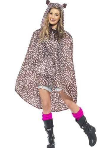 Smiffys, Unisex Leoparden Party Poncho, Poncho mit Zugbeutel, One Size, 27608