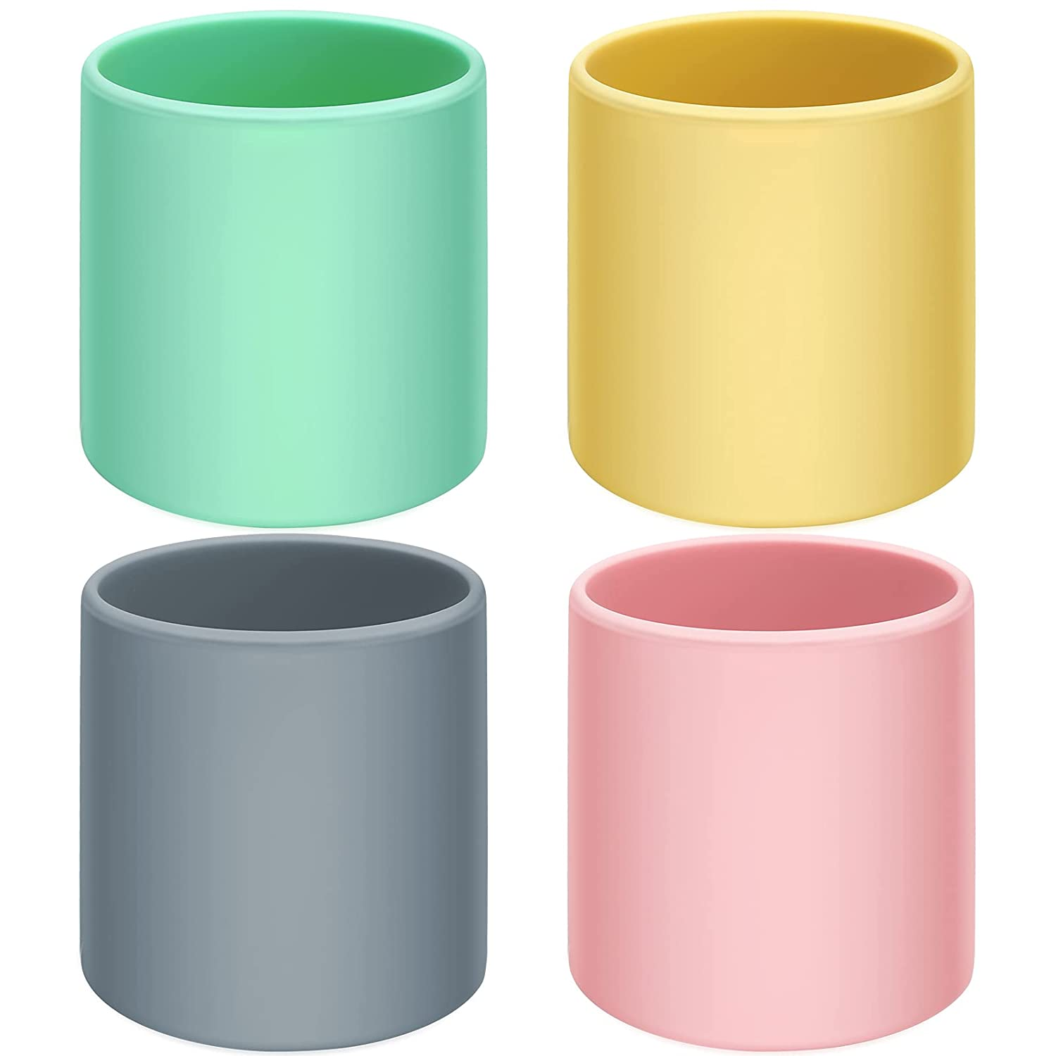 4 Pieces Infant Silicone Training Cup Reliable Baby Open Cup Toddler Learning Cup Durable Baby Drinking Cup for Baby Over 6 Months