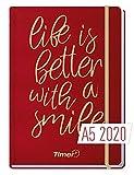 Chäff-Timer Premium A5 Kalender 2020 [Life is better - rot] Terminplaner 12 Monate: Jan. - Dez. 2020 | Terminkalender, Wochenplaner, Wochenkalender, Organizer mit Gummiband und Einstecktasche