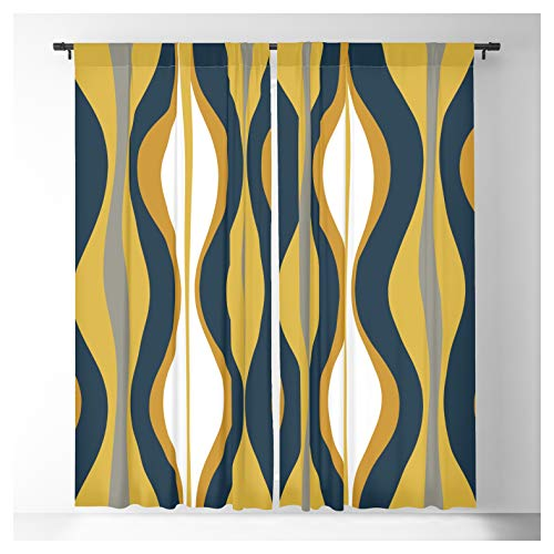 Society6 Hourglass Abstract Mid Century Modern Retro Pattern in Mustard Yellow, Navy Blue, Grey, and White