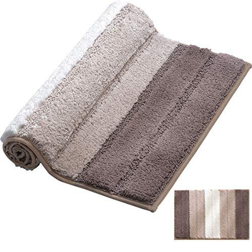 XIYUNTE Chenille Alfombras de baño - Raya moquetas Antideslizante Felpudos moquetas, Alfombrillas de Escalera Infantiles para baño, Seguridad y Protecciones para Cuarto de baño, Lavable en la Lavadora
