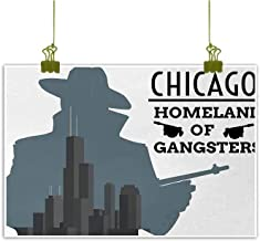Mannwarehouse Vintage Modern Frameless Painting Double Exposure of Gangster with Gun on Chicago Skyscrapers Homeland Mafia Danger Bedroom Bedside Painting 35