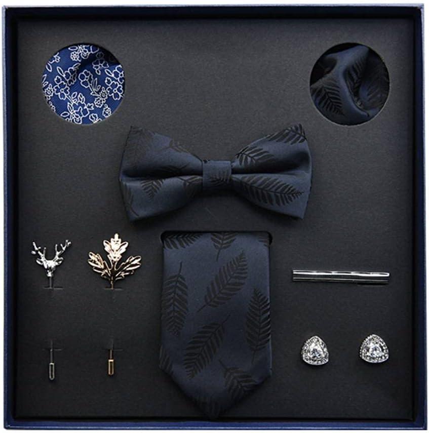 NSXKB Gift Box Packing Men's Vintage Floral Formal Cravat Ascot Tie Self British Style Gentleman Silk Tie Set (Color : B)