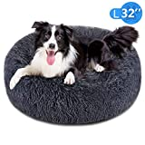 FOCUSPET Dog Bed Donut, Faux FurCuddler Bed Size Large 32'' for Cats & Dogs Round Ultra Soft WashableSelf Warming Pet Cuddler Beds