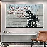Banksy Póster de Lienzo e Impresiones Street Graffiti Art Canvas Painting Cuadros Cuadro de Arte de Pared para Sala de Estar Decoración del hogar 70x90cm / 27.5'x35.4 Sin Marco