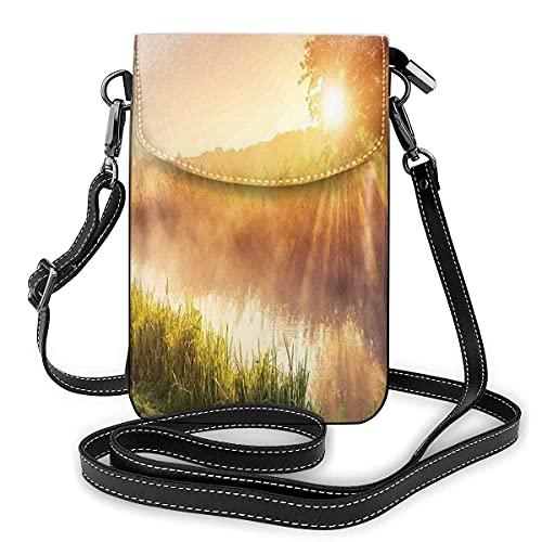Bolso cruzado pequeño para teléfono celular, río mágico con hierba en vigas de luz del sol, árbol dramático Ucrania estampado rural decoración